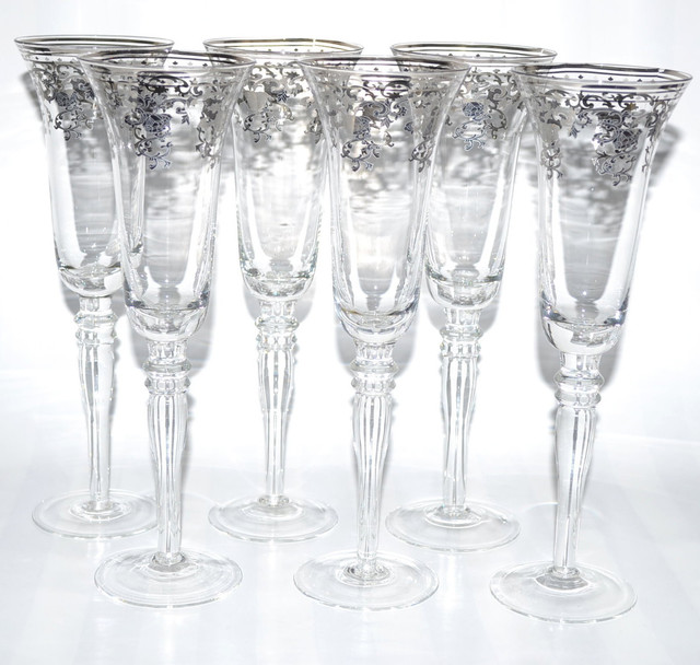 Italian Silver Accented Royal Floral Champagne Flutes (Set of 6) contemporary-wine-and-bar-tools