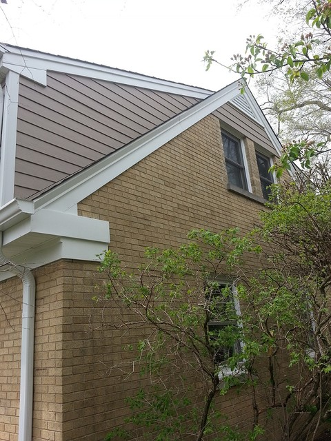 Wilmette jh siding gaf roof soffit fascia gutters before for Gaf cement siding