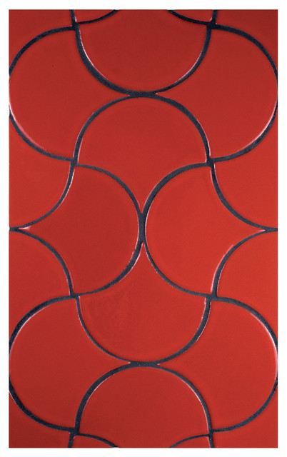 Fireclay Tiles Debris Series Ogee Drop in Tomato Red contemporary kitchen tile