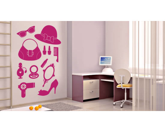 Pack wall stickers - Girls unite! This pack of removable wall decals includes everything a lady needs: shoe, purse, hat, sunglasses, perfume, blow-dryer, mirror, make-up, a hair comb and nail polish. Decorate your space with this super feminine mix and match set. Starts at $38.