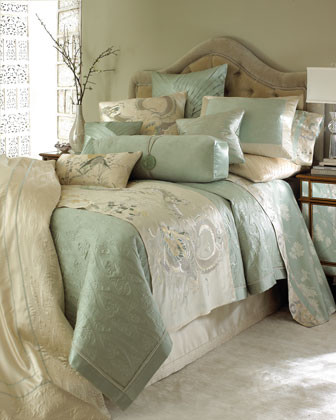 Natori Harmoni Bed Linens Embroidered Bed Scarf, 80 x 25 traditional-bedding