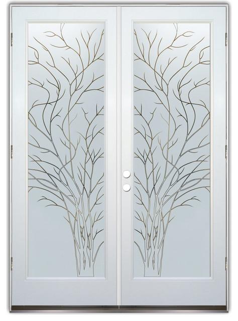 Glass Doors - Frosted Glass Front Entry Doors - WISPY TREE PINSTRIPE eclectic-front-doors