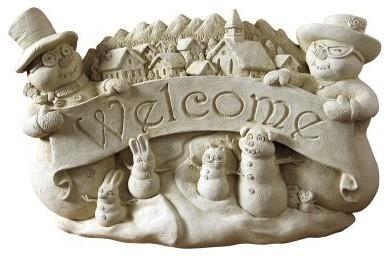 Winter Welcome Wall Plaque/Garden Statue modern-garden-sculptures