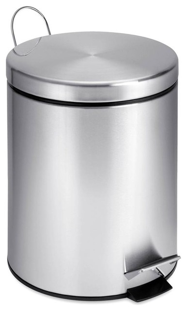 5L Round Stainless Steel Step Can contemporary-wastebaskets