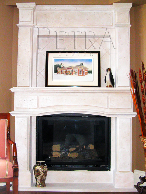Stone Fireplace Mantels modern-indoor-fireplaces