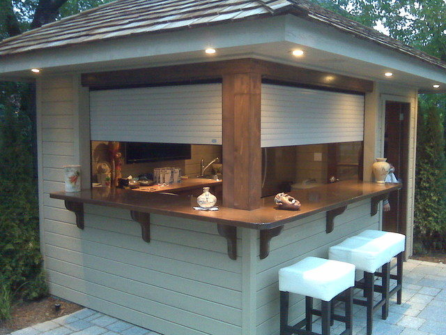 Decorative roll up garage doors - Shutters On Outdoors Bar Contemporary Roller Shades Jacksonville