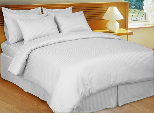1000TC Egyptian Cotton Sheet Set 4pc White Stripe - FREE USA