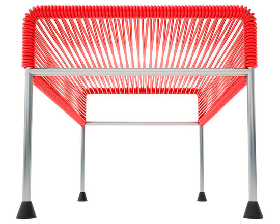 Adam Ottoman, Chrome Frame With Red Weave - Sleek woven vinyl makes this coffee table stand out from the crowd. It's a great option for indoor and outdoor entertaining since the vinyl is UV protected and the metal base is galvanized. The only challenge would be deciding on your favorite color top to pair with the sleek chrome base.