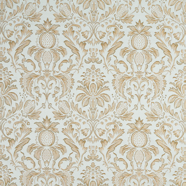 Light Blue Ivory Green Gold Pineapple Damask Upholstery