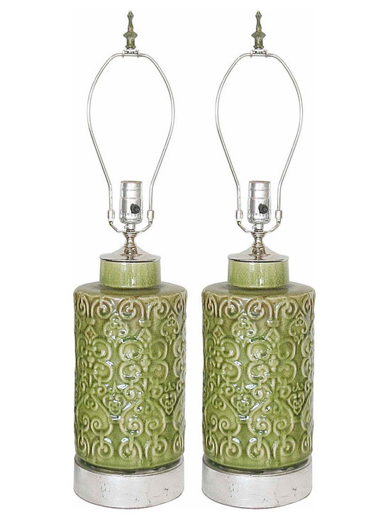 Pottery Lamps Hollywood Regency - Heavy, Richly Detailed pair of glazed stoneware lamps on distressed silver leaf bases. Celery Green with areas of bronze patina and crackle finish in glaze, giving finish great depth and character. Nickel hardware, new socket and cords.