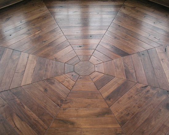 "Private Residences - Custom Design Parquet pattern in 4"" wide Northern American Steamed Walnut flooring, Hand scraped, hand beveled, dyed, stained and finished with Hardwax Oil"