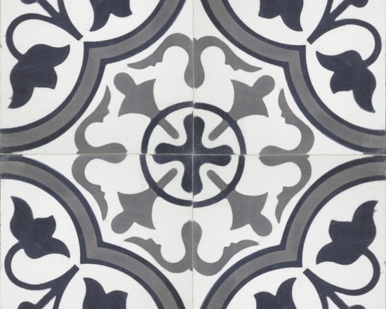 In Stock Cement Tile - Roseton Black cement tile in from Cement Tile Shop
