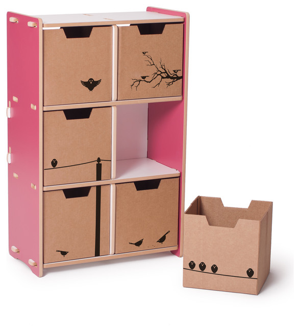 6 Cubby Shelf, Pink/White contemporary-toy-organizers