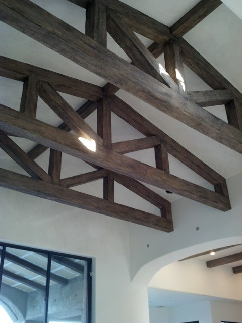 Faux Wood Beams Trusses Transitional Family Room