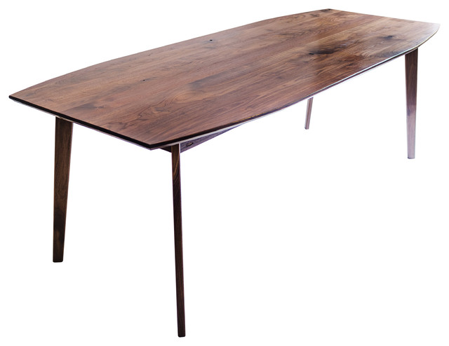 The santa monica solid black walnut dining table mid for Mid century modern dining table
