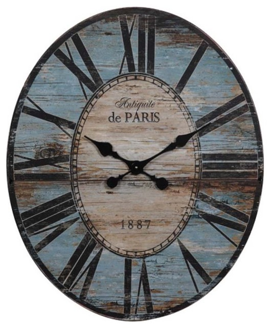 Weathered Turquoise Oval Wall Clock eclectic-clocks