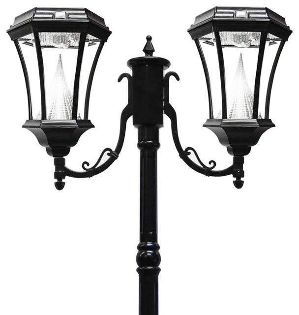gama sonic victorian solar lamp post and double 9 led lamp. Black Bedroom Furniture Sets. Home Design Ideas