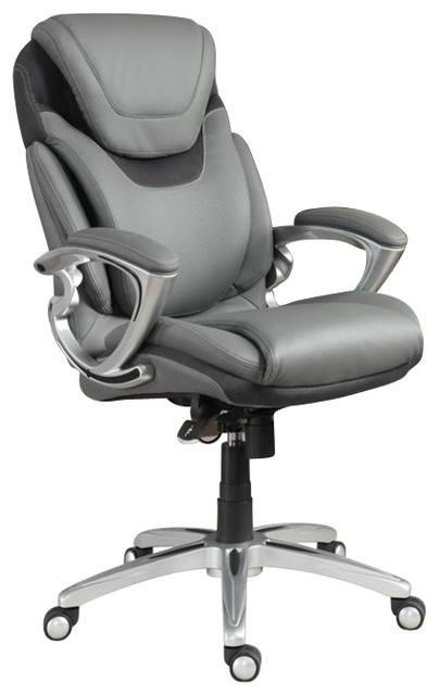Serta AIR Executive Office Chair Grey Bonded Leather Contemporary Office