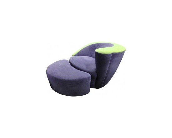 Eco Friendly Furniture and Lighting - United States 1960's Nautilus armchair and ottoman designed by Vladimir Kagan and manufactured by Directional. The chair swivels and the ottoman has casters so is easy to move around, they are upholstered in a purple/lavender cotton felt with the chair having a green stripe of fabric along the top. d.