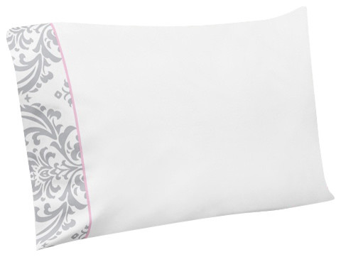Elizabeth Pink and Gray Damask 4-Piece Queen Sheet Set by Sweet Jojo Designs traditional-sheets