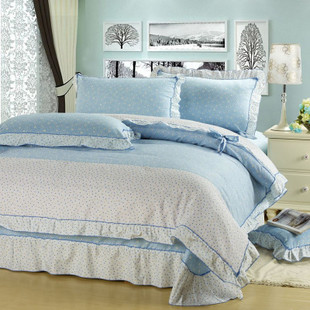 4 piece wonderful light blue bedding sets with lace. Black Bedroom Furniture Sets. Home Design Ideas