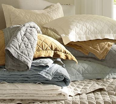 Linen Diamond Quilt, King/Cal. King, Ashley Blue traditional-quilts