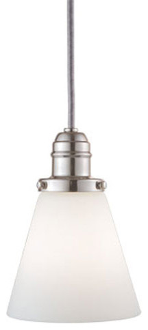 Vintage Polished Nickel One-Light Pendant w/ 11 Ft. Cord with Matte Opal Glass - modern-ceiling-lighting