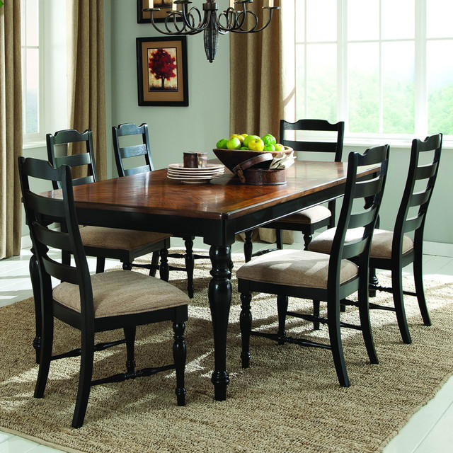 7 Piece Dining Room Set: Homelegance McKean 7-Piece Dining Room Set In Black And