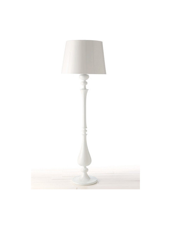 Arteriors White Lola Floor Lamp and Shade - Often the best option for a playroom or nursery is a floor lamp. Sturdy and easy to put in a corner or beside a reading area, floor lamps can transfer into other areas of the house when the playroom grows up. I love this sturdy yet smooth white lamp and shade.
