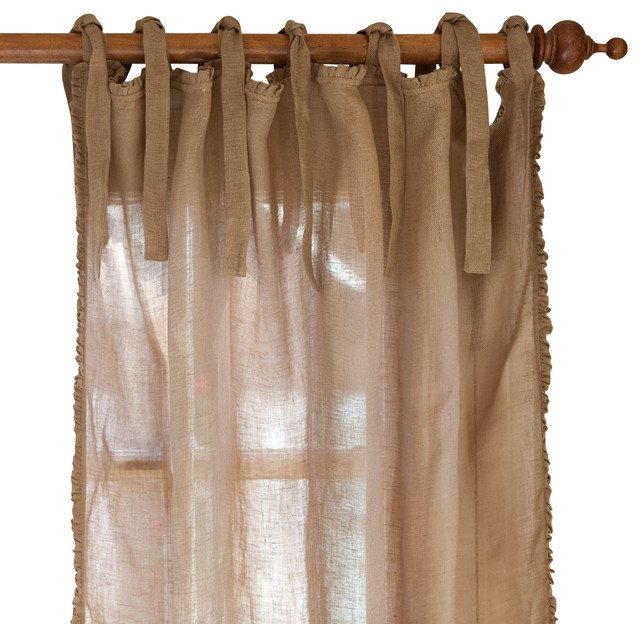 Curtain valances for kitchens - Ruffle Linen Curtain Panel Tobacco 42 Quot X96 Quot Farmhouse Curtains