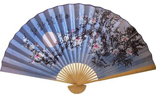 Blue Blossoms Asian Wall Fan asian-home-decor