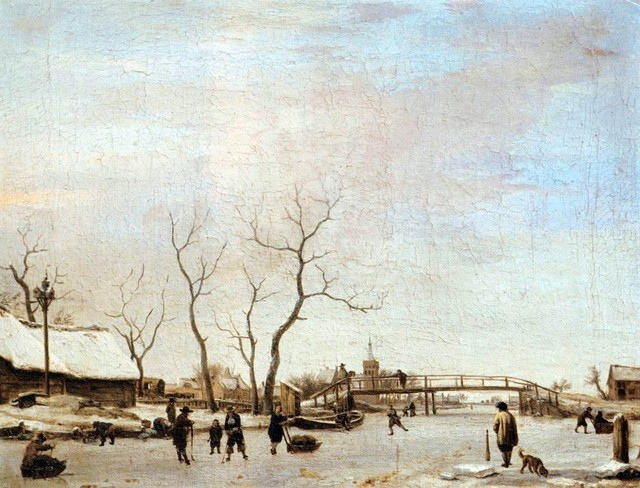 Adriaen Van de Velde Frozen Canal with Skaters and Hockey Players  Print traditional-artwork