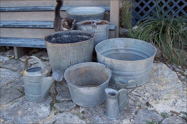 Galvanized garden tubs and containers eclectic outdoor decor austin by artisanaworks - Galvanized containers for gardening ...