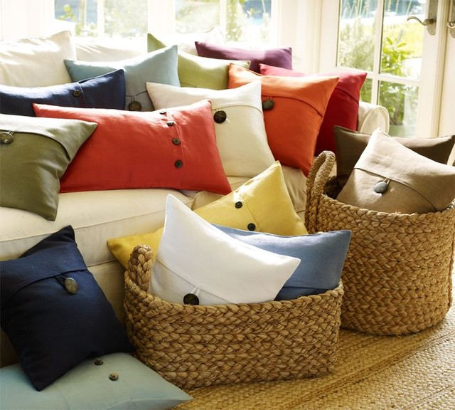 Textured Linen Pillow Covers - pillows - by Pottery Barn