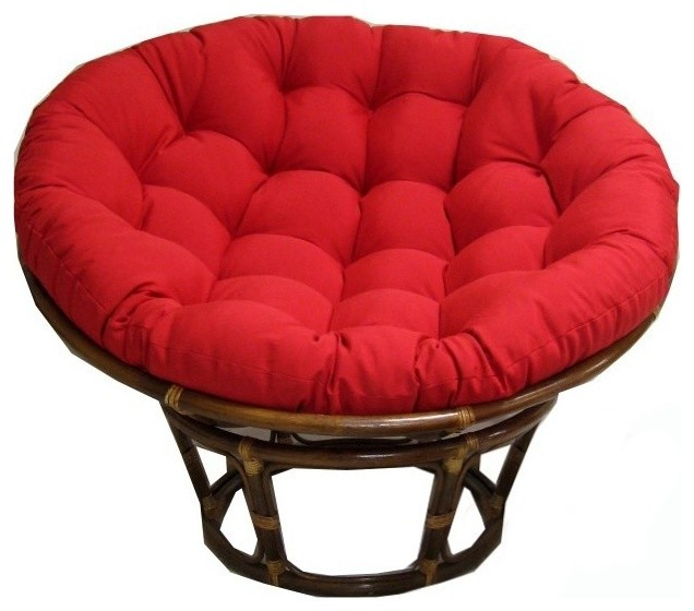 43 in Rattan Papasan Chair with Micro Suede Cushion in