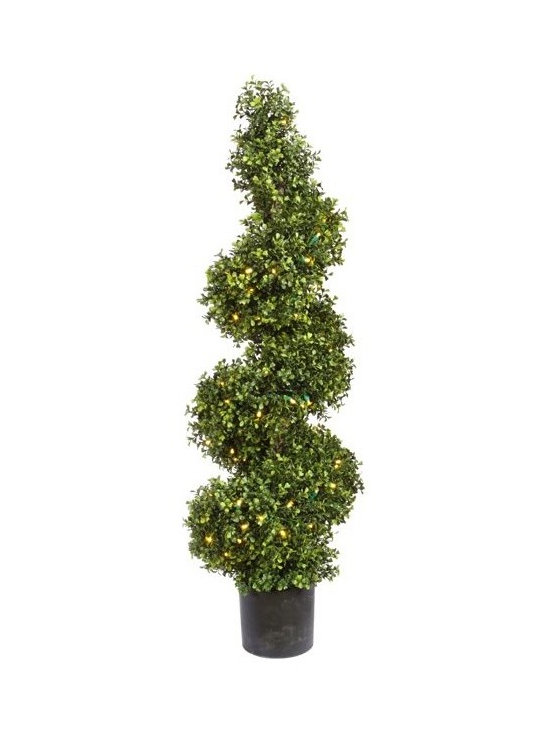 Artificial Outdoor Foliage - This artificial outdoor boxwood spiral topiary has 150 LED lights neatly hidden within the foliage. Excellent for all season use and better when lighted for the holidays.