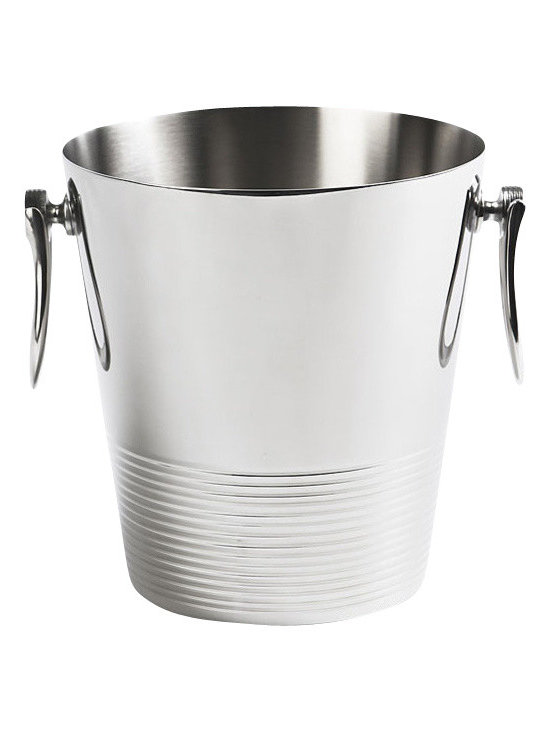 """Global Views - Pear Drop Ice Bucket - This handcrafted pear drop ice bucket, made of solid brass with a nickel-plated finish, stands 8"""" tall and has a diameter of 7.2""""."""