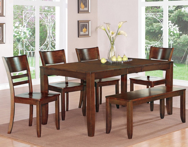 6pc lynfield rectangular dining table with 4 wood seat