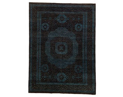 Black and Blue Chobi Ziegler Oriental Rug with Borders -rugs