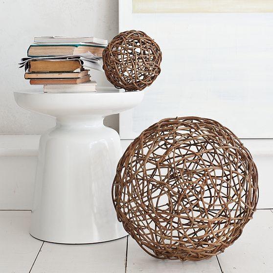 Wicker Core Spheres contemporary-sculptures