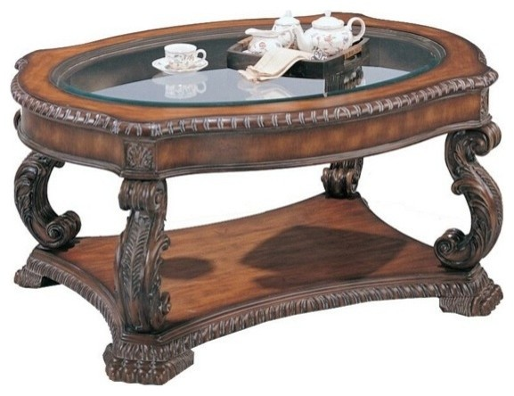 Brown Antique Finish Wood Coffee Table With Glass Top
