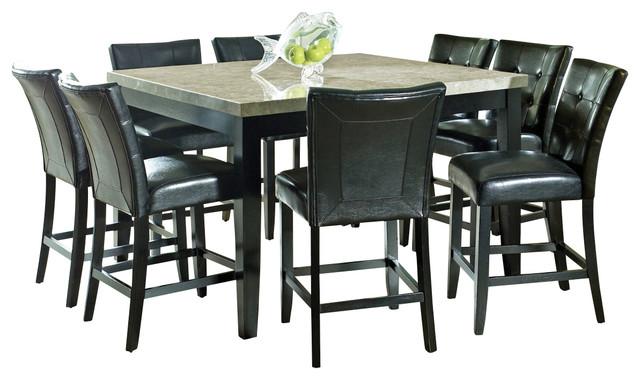 Steve Silver Monarch 9-Piece Marble Top Counter Height Set traditional-dining-sets