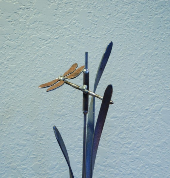 Metal Garden Stake Dragonfly Cattail and Grass  garden sculptures