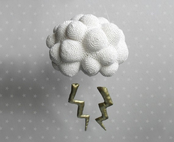 Nice Storm, Cloud With Lightning, Crochet Mobile by Ho Kiou eclectic-baby-mobiles