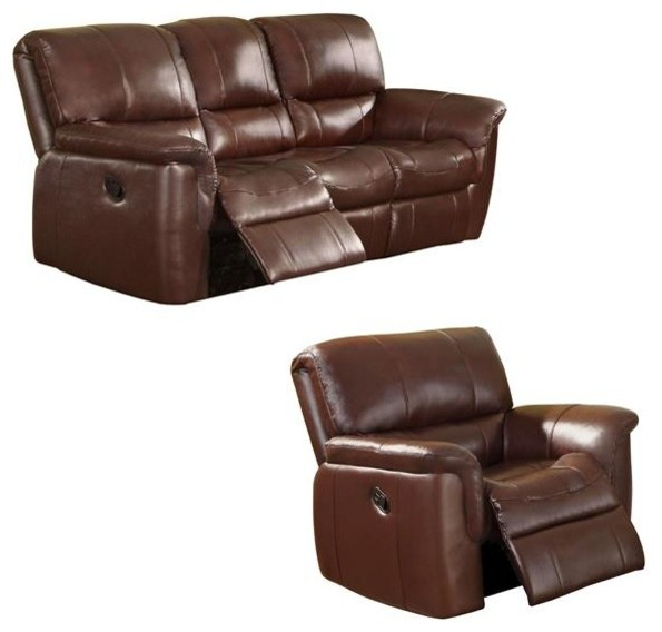 Concorde Wine Italian Leather Reclining Sofa And Recliner