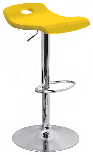 Yellow Surf Curved Wood Barstool Contemporary Bar