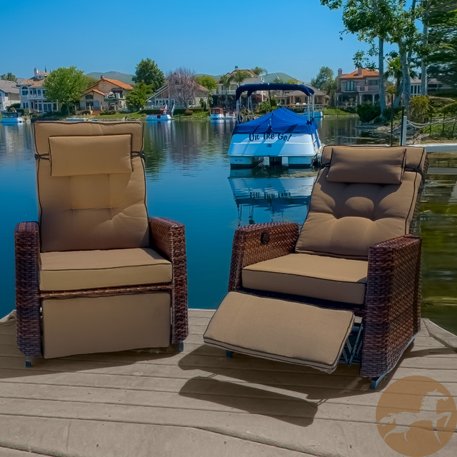 Christopher Knight Home Outdoor Brown Wicker Recliners Set of 2 Contempor