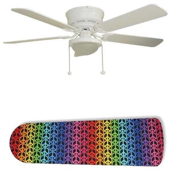 Rainbow Ceiling Fan : Rainbow peace signs quot ceiling fan with lamp eclectic