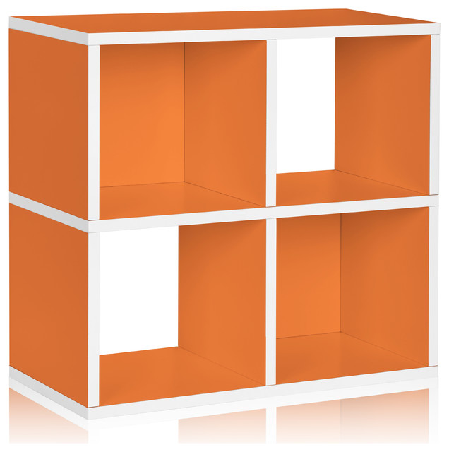 Way Basics Stackable Cubby Bookcase, Orange modern-bookcases