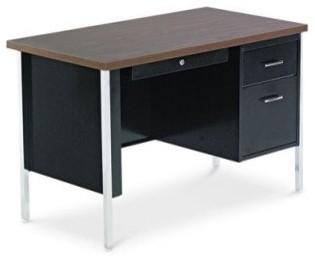 Alera Single Pedestal Steel Desk Walnut Traditional
